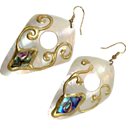 Shell Earrings, Vintage Earrings, Abalone, 1980s, Massive, Oversized, White Pearl, Huge Earrings, Gold, Handpainted, NOS, New Old Stock, Mod