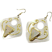 Shell Earrings, Vintage Earrings, 1980s, Massive, Oversized, White Pearl Shell, Huge Earrings, Gold, Handpainted, NOS, New Old Stock, Mod