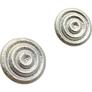 Modern Earrings, Vintage Earrings, Silver, Clip Earrings, Contemporary, 1980s, 80s, Retro, Clips, Circles, Round Earrings