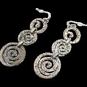 Silver Earrings, Vintage, Matte Silver, Oversized, Pierced, 1980s, Big Statement, Boho, Long, Dangle, Contemporary, Modern, Mod, Retro