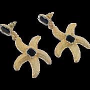 Starfish Earrings, Gold, Black, Vintage Earrings, Rhinestone, Jewels, Pierced, Mermaid Jewelry, Dangles, Statement, Cruise Jewelry, Big