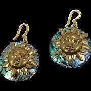 Sun Earrings, Abalone Earrings, Shell Earrings, Brass, Vintage Earring, Big, Pierced Dangle, Boho Statement, Brass Charm, Purple Peacock