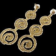 Massive Earrings, Rhinestone, Shoulder Dusters, Gold, Dangles, Pierced Earrings, Faux Topaz, Vintage Jewelry, Statement, Big Large
