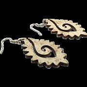Big Boho Earrings, Big Statement, Vintage Earrings, Wood, Wooden, Unique, Unusual, Pierced, Dangle, Bohemian, Festival Jewelry, Large