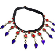 Gypsy Necklace, Blue Cobalt, Red, Kuchi Jewelry, Coin, Vintage Necklace, Afghan, Turkmen, Boho Statement, Banjar, Bohemian, Ethnic Tribal