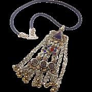 Boho Necklace, Reversible, Afghan Pendant, Leather, Red, Blue, Statement Necklace, Gypsy Jewelry, Banjara, Turkomen, Bohemian, Ethnic Tribal