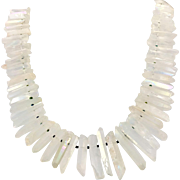 "Crystal Point Necklace, Quartz Points, Aura, AB, Oversized Necklace, 22"" Strand, Sterling, Artisan, Quartz Necklace, Statement, Big, New Age"