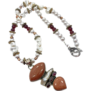 Goldstone Necklace, Pearl, Garnet, Sterling Silver, Goldstone Pendant, Beaded, Artisan, Mixed Stones, Big Statement, Boho, Unique, Bohemian