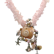 Mermaid Necklace, Shell Necklace, Rose Quartz Crystal, Pink, Artisan, Beaded, Starfish, Seashell, Beach, Statement, Pearl, Multi Strand