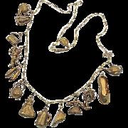 Piddly Links Necklace, Charm Necklace, Rare, Brass Necklace, Kingston NY Co, Vintage Necklace, Money Bag, Angel, Coffee Pot, Phone, Patina