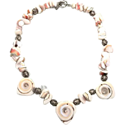 Shell Necklace, Sterling Silver, Carved Shiva, Boho Statement, Beaded Necklace, Bali Beads, Bohemian, Beach, Cruise, Seashell Sea