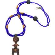 African Necklace, Carved Bone, Totem, Man, Vintage Jewelry, Cobalt Blue, Beaded Glass, Unisex, Mans, Figurine, Ethnic, Bohemian, Hippie