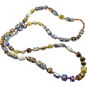 African Necklace, Trade Beads, Rustic, Glass, Vintage Necklace, Hand Painted, Powder Glass, Africa, Ethnic, Old, Tribal, Boho, Long Necklace