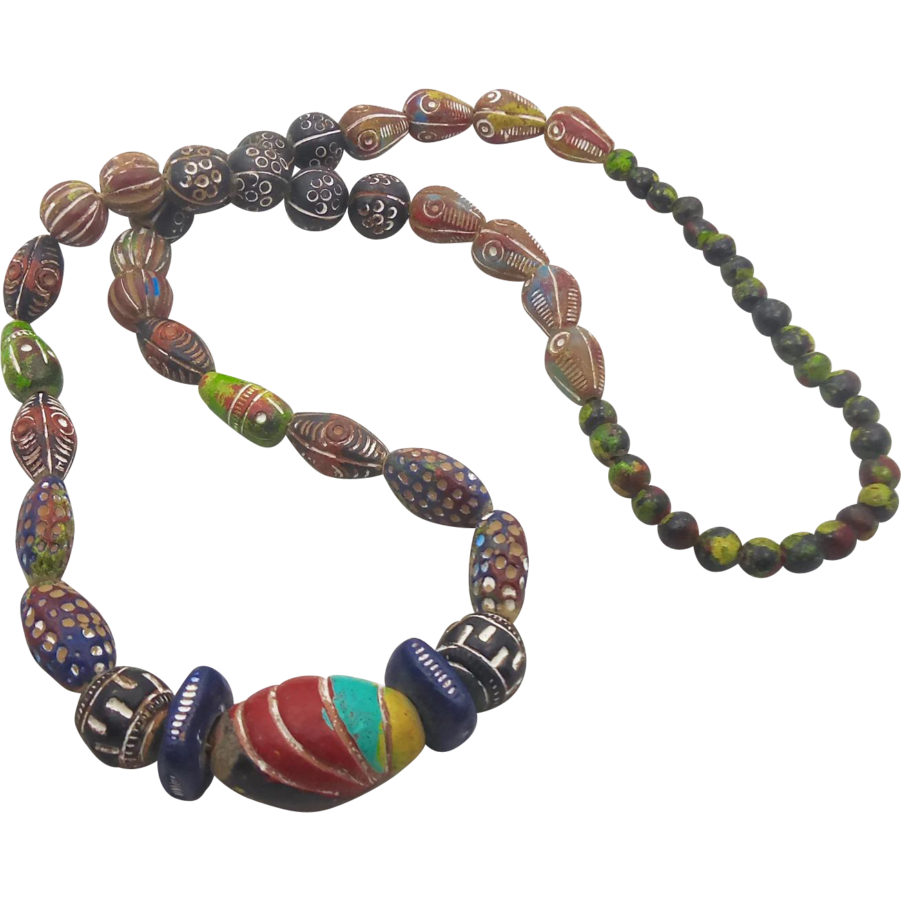 African Necklace Terra Cotta Clay Beads Trade Beads