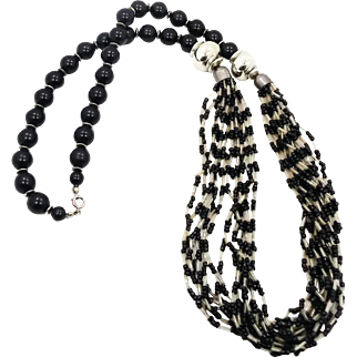 Black Boho Necklace, Glass Seed Beads, Multi Strand, Ethnic Statement, Tunic Length, Silver Metal, Vintage Tribal, Large Long, Big Beads