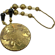 Elephant Necklace, Massive, Beaded, Vintage Necklace, Bone Beads, Wood, Wooden, Lucky, Big Statement, Chunky, African, Festival Jewelry