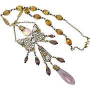 Butterfly Necklace, Art Nouveau Necklace, Vintage, Czech Glass, 1920s, 1930s, Brass, Large, Lavender, Pink, Yellow, Ornate, NOS, Rhinestone