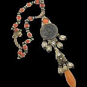 Art Nouveau Necklace, Vintage, Czech Glass, Goddess Necklace, 1920s, 1930s, Brass, Ornate, Orange, Faux Pearls, Cameo, NOS, Rhinestone
