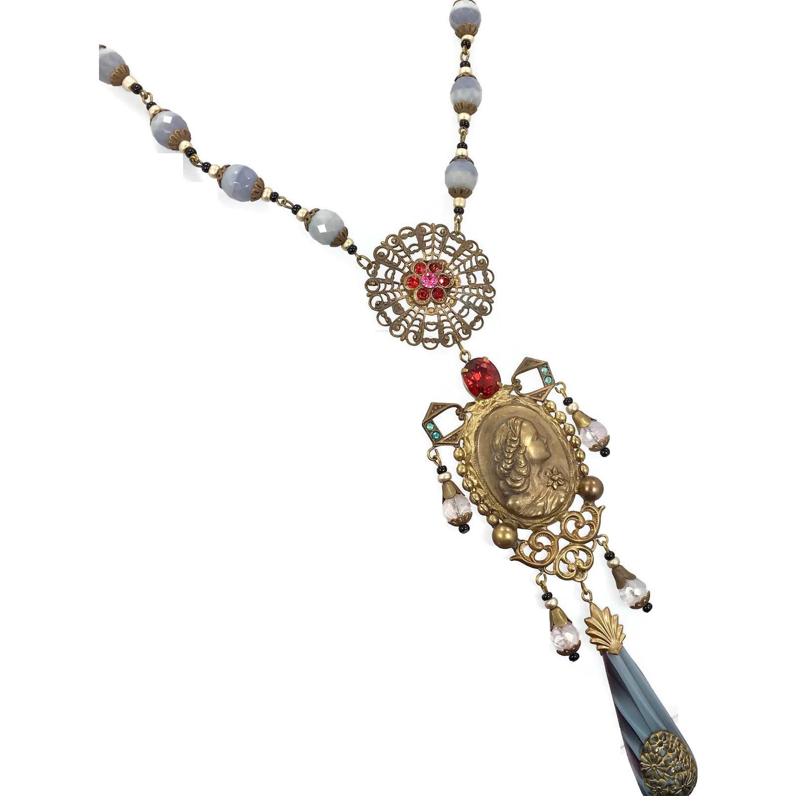 Art Nouveau Necklace, Cameo Necklace, Vintage, Czech Glass, Goddess Necklace, 1920s, 1930s, Brass, Ornate, Red, Gray, NOS, Rhinestone