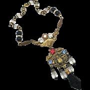 Scarab Necklace, Art Nouveau, Vintage, Czech Glass, Egyptian Necklace, Beetle, Black, 1920s, 1930s, Brass, NOS, Rhinestone, Egyptian Revival