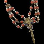Art Nouveau Necklace, Czech Glass, Goddess Necklace, Festoon, Gothic Necklace, Sword, Dagger, Vintage, 1920s, 1930s, Brass, Ornate, NOS