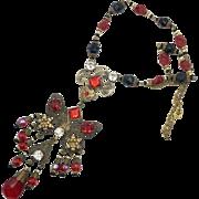 Butterfly Necklace, Art Nouveau Necklace, Vintage, Czech Glass, Red, Black, 1920s, 1930s, Brass, Ornate, NOS, Rhinestone, Art Deco, Patina