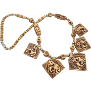 Elephant Necklace, Beaded, Vintage, Carved Bone, Ethnic Tribal, Bohemian, African, Boho Statement, Festival, Hippie