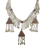 Kuchi Necklace, Boho Statement, Afghan Necklace, Vintage Necklace, Hazara, Gypsy, Bohemian, Large Big, Jeweled, Belly Dance, Ethnic Tribal