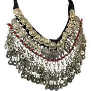 Gypsy Necklace, Massive, Boho Statement, Kuchi, Afghan, Huge Big, Vintage, Oversized, Silver, Red, Belly Dance, Banjara, Bohemian, Dangles