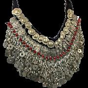 Gypsy Necklace, Massive, Boho Statement, Kuchi, Afghan, Huge Big, Vintage, Oversized, Silver, Red, Belly Dance, Banjara, Bohemian, Dangles