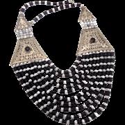 Boho Necklace, Big, Massive, Afghan, Kuchi, Gypsy, Beaded, Black Glass, Silver, Vintage Necklace, Multi Strand, Oversized, Huge, Bohemian