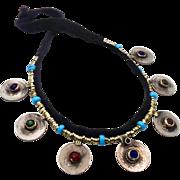 Boho Necklace, Afghan Jewelry, Vintage Necklace, Jewels, Red Blue Green, Kuchi Jewelry, Turkomen, Gypsy Statement, Ethnic, Vintage Jewelry