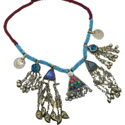 Gypsy Necklace, Kuchi, Afghan Jewelry, Coins, Vintage Necklace, Blue, Gypsy Jewelry, Turkomen, Boho Statement, Bohemian, Ethnic Tribal