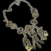 Gypsy Necklace, Afghan Necklace, Vintage Necklace, Gypsy Jewelry, Coin Necklace, Silver Necklace, Turkmen, Kuchi, Statement, Big Boho
