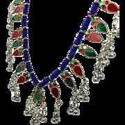 Afghan Necklace, Red, Blue, Green, Gypsy Necklace, Massive, Kuchi, Vintage Necklace, Turkmen, Boho Statement, Bohemian, Ethnic Tribal, Big