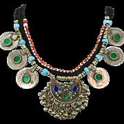 Boho Necklace, Jeweled, Kuchi Gypsy, Afghan Jewelry, Coins, Vintage Necklace, Belly Dance, Turkomen, Boho Statement, Bohemian, Ethnic Tribal