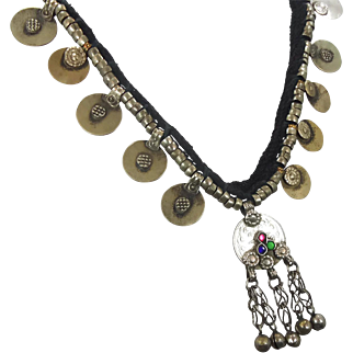 Kuchi Necklace, Afghan Jewelry, Coin Bells, Vintage Necklace, Gypsy Jewelry, Banjar, Turkomen, Boho Statement, Bohemian, Ethnic Tribal