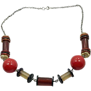 Lucite Necklace, Vintage Necklace, Red, Brown, Black, Kitschy, 1950s, Geometric, Mid Century, Mod, Modern ,Big, Chunky, Silver, Plastic
