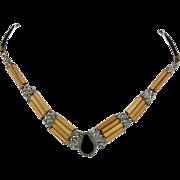 Boho Necklace, Peruvian, Bamboo Wood, Black Onyx Stone, Leather, Vintage, Boho Jewelry, Bohemian, Hippie Gypsy, Ethnic Tribal, Choker Unisex