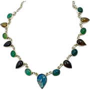 Calcedony Necklace, Black Onyx, Chrysoprase, Sterling Silver, Vintage Necklace, Blue, Green, Mexico, Multi Stones, Sterling, Multi Color