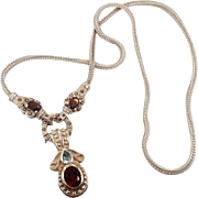 Garnet Necklace, Blue Topaz, Marcasite, Sterling Silver, Multi Gemstone, Vintage Necklace, Sterling Chain, Heavy Silver, Thailand, Red Stone