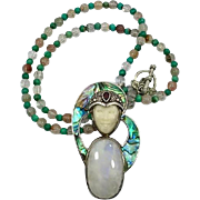 Goddess Necklace, Moonstone Pendant, Abalone Shell, Sterling Silver, Vintage Necklace, Garnet, Turquoise, Mixed Stones, Beaded, Bali Queen