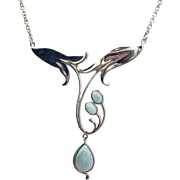 Larimar Necklace, Sterling Silver, Unique, Vintage Necklace, Art Nouveau Style, Lilies, Flower, Thailand NK, Sterling Chain, Blue Stone