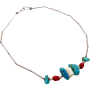 Turquoise Choker, Red Coral, Sterling Silver, Liquid Silver, Vintage Necklace, Native American, Dead Pawn, Beaded, Heishi, Boho Hippie