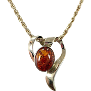 Amber Pendant, Sterling Necklace, Vintage Necklace, Sterling Silver, Amber Necklace, Modern, Contemporary, Sterling Chain, Big, Unique