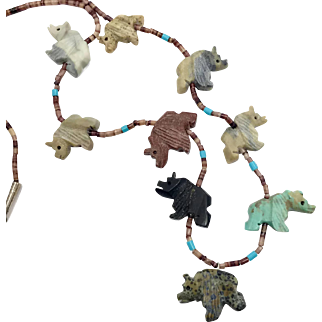 Bear Fetish Necklace, Native American, Sterling Silver, Vintage Necklace, Turquoise, Jasper, Agate, Shell, Heishi, Beaded