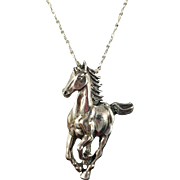Horse Necklace, Sterling Silver, Vintage Pendant, Horse Pendant, Sterling Chain, Equestrian, Running Trotting, Galloping, Unique, Quality