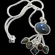 Labradorite Pendant, Sterling Silver, Necklace, Vintage Pendant, Modern, Contemporary, Sterling Chain, Big, Huge Big, Sterling Pendant