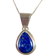 Lapis Necklace, Sterling Silver, Lapis Pendant, Vintage Necklace, Lapis Lazuli, Blue Stone, Sterling Silver, Chain, Vintage Jewelry