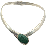 Sterling Collar, Malachite Stone, Sterling Silver, Vintage Necklace, Mexico Taxco, Minimalist, Modern, Choker, Contemporary